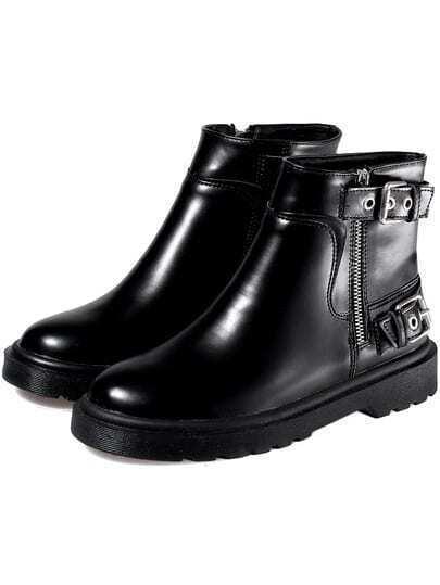 Black Round Toe Buckle Side Zipper Short Boots