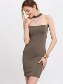 Army Green Halter Strapless Slim Bodycon Dress