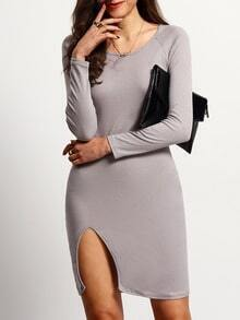 Grey Long Sleeve Split Slim Dress