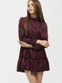 Burgundy Long Sleeve Slim Flare Dress