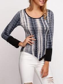 Grey Long Sleeve Buttons Asymmetrical T-Shirt