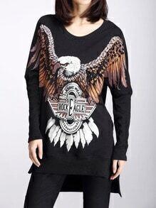 Black Round Neck Eagle Print Split T-Shirt