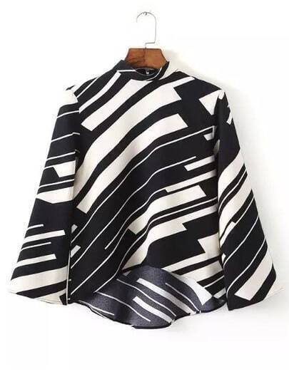 Black White Stand Collar Striped Dip Hem Blouse