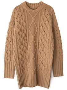 Khaki Crew Neck Diamondback Chunky Sweater