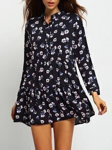 Black Stand Collar Floral Chiffon Dress
