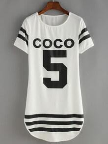 White Crew Neck Coco 5 Print Striped Dress