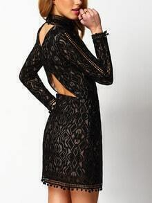 Black Stand Collar Lace Backless Dress