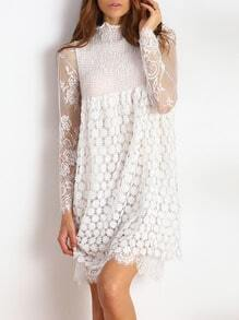White Frill Neck Sheer Mesh Lace Dress