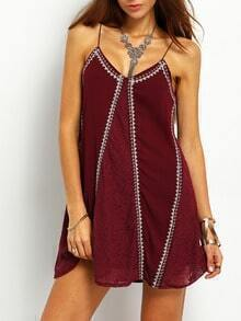 Red Spaghetti Strap Embroidered Cami Dress