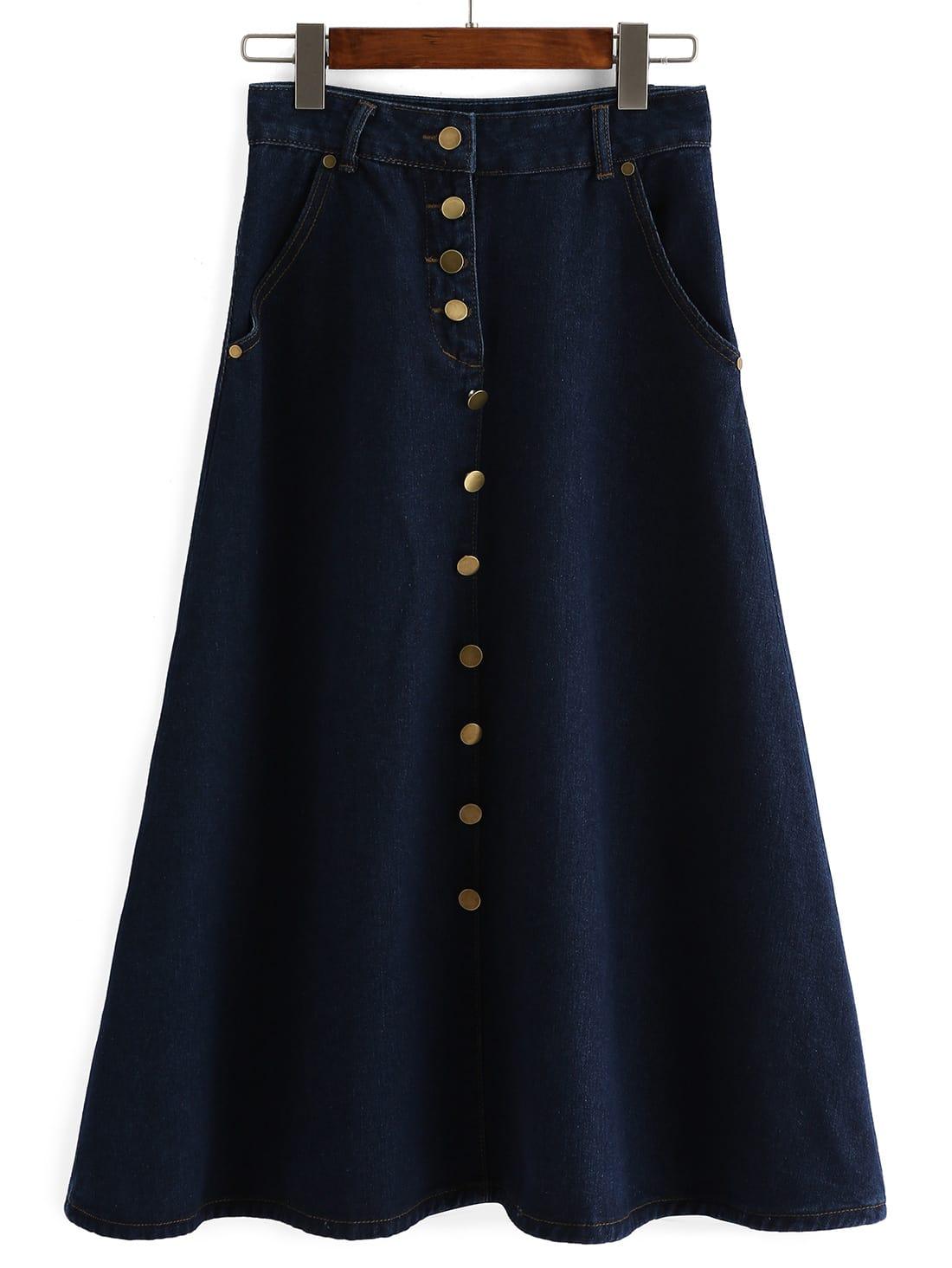 navy single breasted a line denim skirt shein sheinside