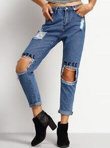 Blue Ripped Letters Embroidered Denim Pant