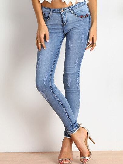 Blue Slim Ripped Denim Pant pictures