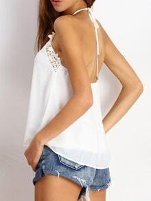 White Halter Lace Loose Cami Top