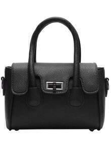 Black Twist Lock PU Tote Bag