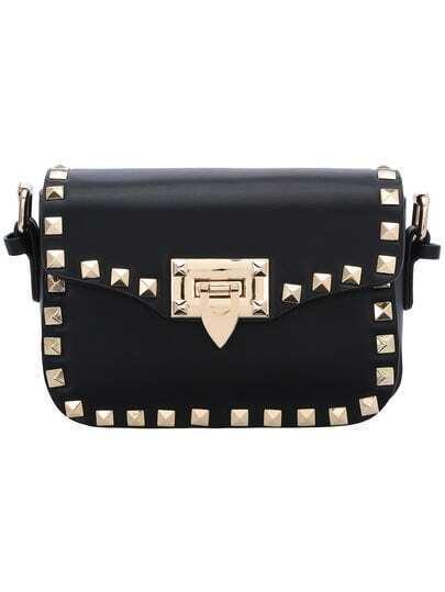 Black Rivet PU Shoulder Bag
