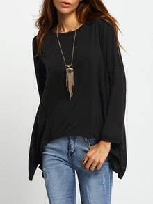 Black Round Neck Split Asymmetrical T-Shirt
