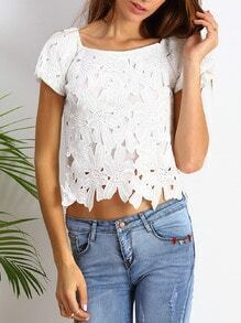 White Short Sleeve Crochet Crop Blouse