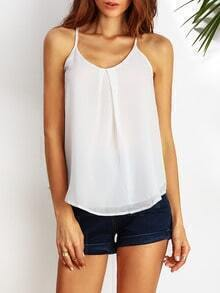 White Spaghetti Strap Backless Loose Cami Top