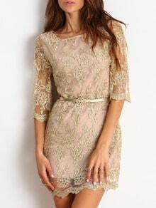 Champagne Half Sleeve Lace Bodycon Dress