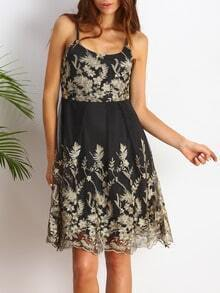 Black Spaghetti Strap Embroidered Backless Dress