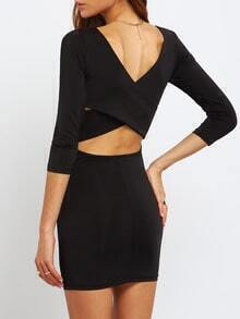 Black Scoop Neck Cross Back Midriff Dress