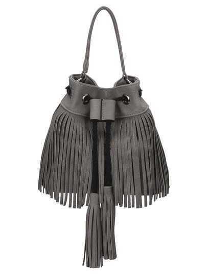 Grey Drawstring Tassel Bucket Bag