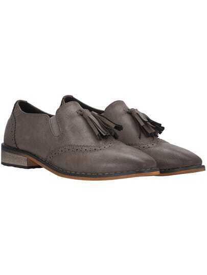 Grey Pointed Toe Tassel Pierced Flats