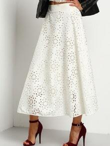 White Elastic Waist Hollow Out A-Line Skirt