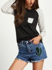 Black Raglan Sleeve Striped Pocket T-shirt