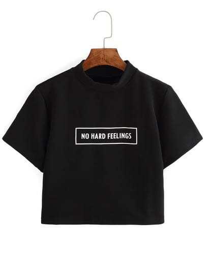 Letter Print Crop T-shirt