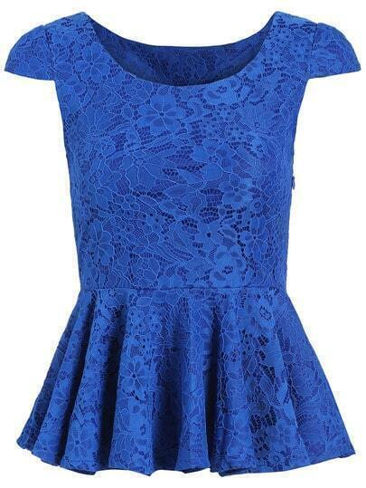 Blue Cap Sleeve Peplum Lace Shirt