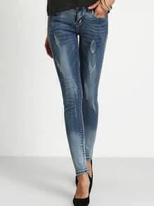 Blue Bleached Scratch Denim Pant