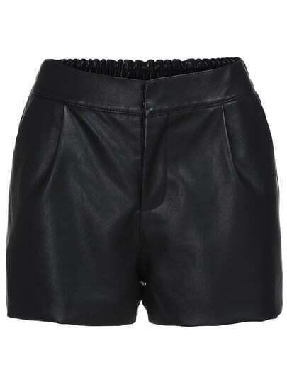 Black Elastic Waist PU Shorts