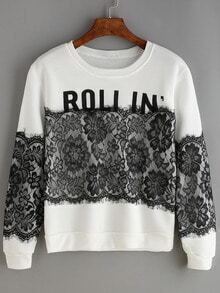 White Lace Splicing Sweatshirt