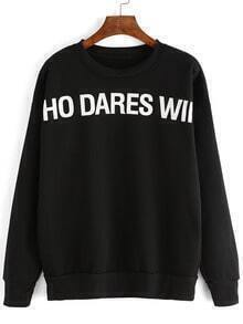 Black Long Sleeve Letter Print Sweatshirt