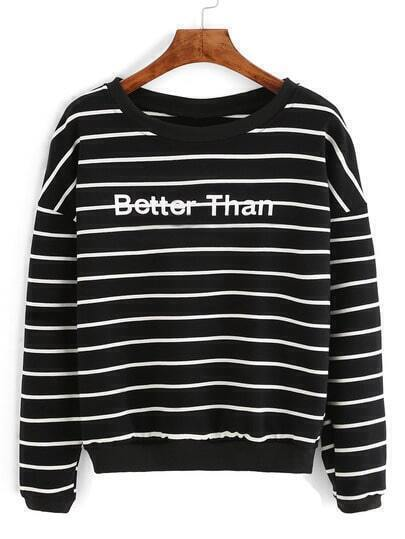 Black Stripe Letter Printed Sweatshirt