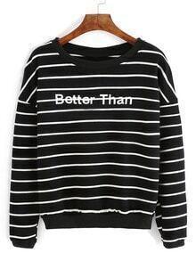 Black Stripe Letter Printed Sweatshirt