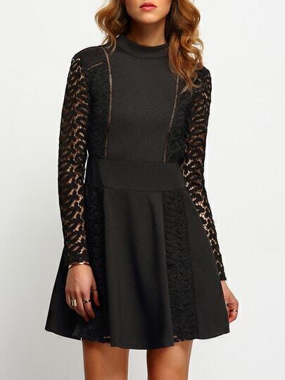 Black Lace Sleeve Backless Skater Dress