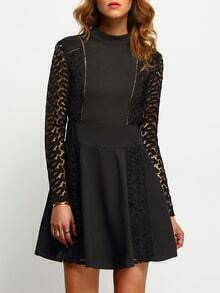 Black Lace Sleeve Backless Skater Dress
