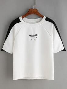 Raglan Sleeve Contrast Pistol Embroidered T-shirt