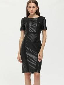 Black PU Leather Sheath Dress