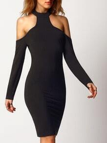 Black Cold Shoulder Keyhole Back Sheath Dress