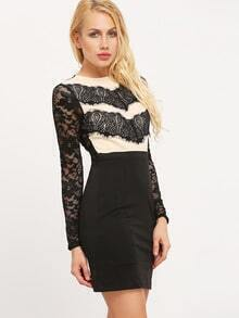 Black Color Block Lace Bodycon Dress