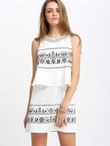 Beige Sleeveless Aztec Print Layer Dress