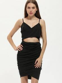 Black Spaghetti Strap Cut Out Ruched Sheath Dress