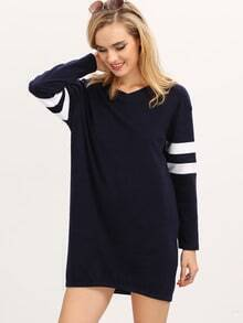 Black Color Block Trims Shift Dress