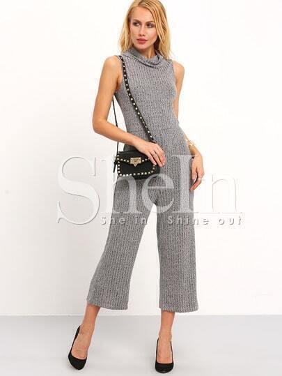 Grey Turtleneck Sleeveless Jumpsuit