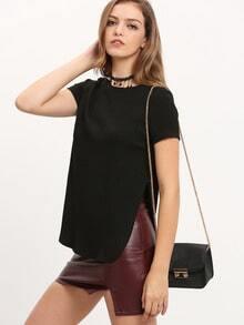 Black Side Slit Ribbed T-Shirt