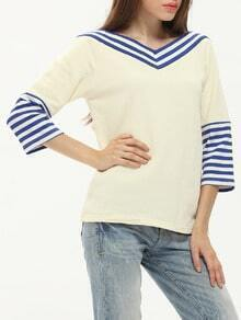 White Color Block Trims T-Shirt