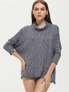 Lose T-Shirt Rollkragen - grau